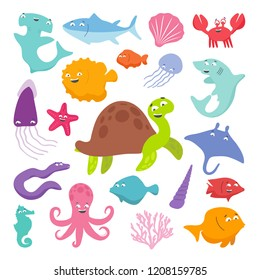 Collection of cute smiling marine animals. Turtle. Tuna. Crab. Jellyfish. Kalmar. Moray. Slope. Octopus. Shark