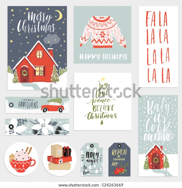 Collection Cute Stylish New Year Merry Stock Vector Royalty Free 524263669