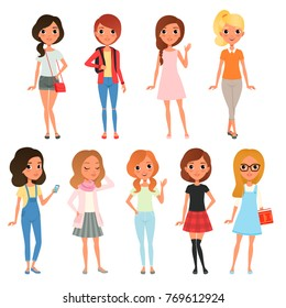 Collection of cute teenager girls dressed in stylish clothing. Female characters posing with cheerful face expressions. Cartoon flat vector design