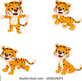 collection of cute tiger cartoon