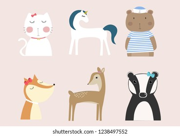 Collection of cute vector animals