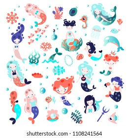 Collection of cute vector cartoon mermaids with elements of sealife and underwater plants and animals. Seashells, fairy princess mermaid in one set