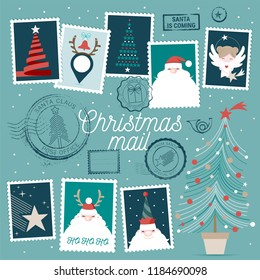 Collection of cute vector Christmas rubber stamps, postage stamps and decorations