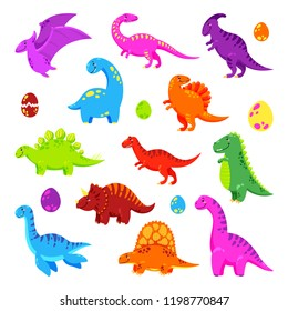 Collection of cute vector dinosaurs
