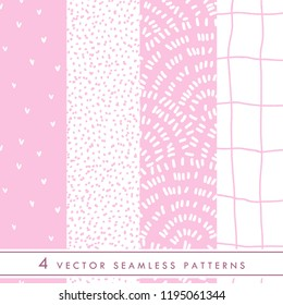 Collection of cute vector seamless patterns in pink and white colors. Minimalism style ornament for children and girls fabric and textile.