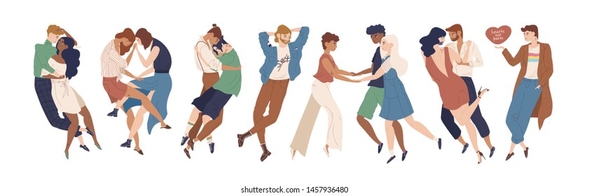 Collection of cute young people demonstrating romantic and sexual attraction to others. Heterosexual, homosexual, pansexual, bisexual orientations, polyamory. Flat cartoon vector illustration.