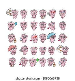 Collection of cutest pig character icon set with different emotions. Vector illustration for new 2019 year. Set of small piggy
