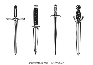 Collection of daggers isolated on white. Vector illustration.