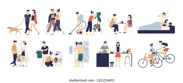 Collection of daily life or everyday routine scenes of young romantic couple. Pair of boy and girl walking dog, cleaning up house, cooking food, washing clothes, buying food. Flat vector illustration.
