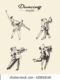 Collection of dancing couples, hand drawn vector illustration, sketch