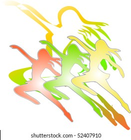 Collection of dancing girls in silhouette gradient color illustration vector