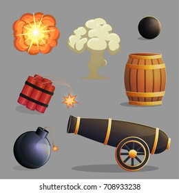 Collection of dangerous explosive items and explosions, cannon, gunpowder and cannon balls, dynamite, bomb and fire explosions. Game and app ui icons.