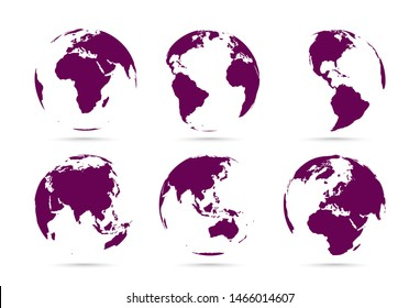 Collection of dark flat icons globes. Set maps of the world. Planet with continents Africa, Asia, Australia, Europe, North America and South America