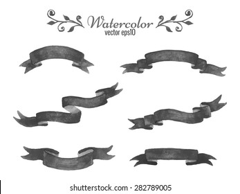 Collection of  dark watercolor ribbon banners isolated on white background. Set of elegant hand drawn elements for design. Vector illustration. Image trace.