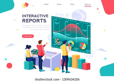 Collection, database graphs. Desktop chart analyzing, statistics visualization concept. Interacting people. 3d isometric vector illustration.