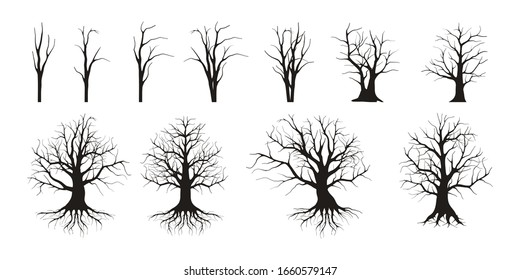 The Collection of Dead Trees without Leaves Vector isolated. dried tree collections with hand drawn style for design elements.