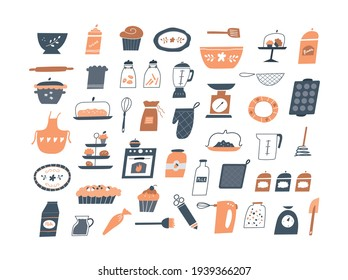 Collection of decorating clip art: kitchen objects, dishes, meals, baking utensils, baking elements in doodle style isolated on white. Hand drawn cartoon vector illustration.