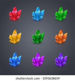 Collection of decoration icons for games. Set of cartoon crystals. Crystals vector illustration.