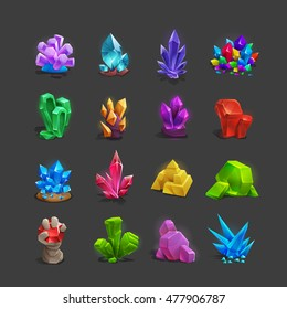Collection of decoration icons for games. Set of cartoon crystals. Vector illustration.