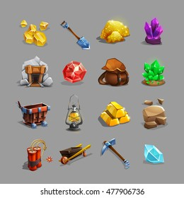 Collection of decoration icons for mining strategy game. Set of cartoon picking tools, stones, crystals, ores and gems. Vector illustration.