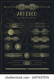 A collection of decorative art-deco illustrations. 1920s style with modern elements. Abstract compositions, headers and dividers in the style of newspapers and paintings. EPS 10
