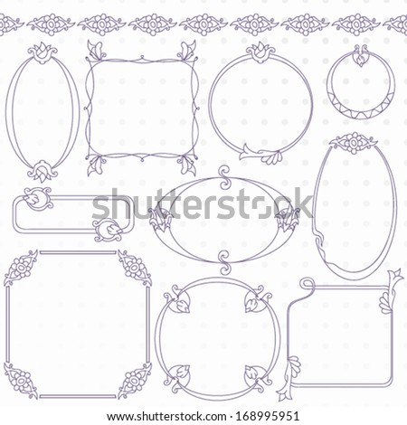 Collection Decorative Artistic Frames Stock Vector (Royalty Free ...