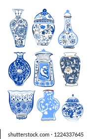 Collection of decorative cartoon freehand drawing blue vases isolated on white background. Vector illustration.