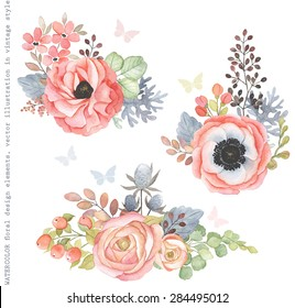 Collection decorative design of watercolor flowers and leaves in vintage style with butterflies.