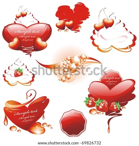 Collection Decorative Frames Backgrounds Berries Valentines Stock ...