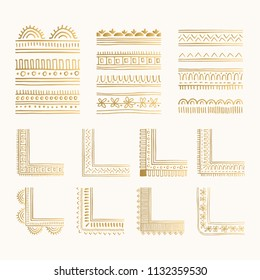 Collection of decorative golden corners and borders. Creative oriental design. Vector illustration.