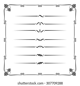Collection of decorative line elements, border and page rules vector illustration eps10