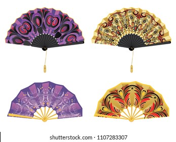 Collection of decorative oriental folding paper fans on white.