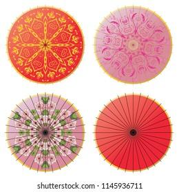 Collection of decorative oriental umbrella on white background.