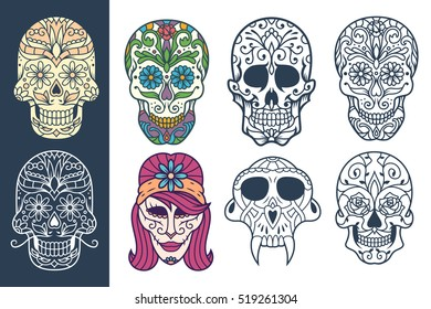 A collection of decorative sugar skull illustrations, great for Day of the Dead or printed on different products.