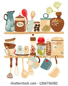 Collection of decorative tableware items and spices on kitchen shelf and on white background. Retro ceramic utensils or crockery - cups, dishes, bowls, pitchers. Vector set objects, vertical poster.