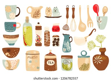 Collection of decorative tableware items and spices for kitchen. Retro ceramic utensils or crockery - cups, dishes, bowls, pitchers. Vector set objects, horizontal poster on white background.