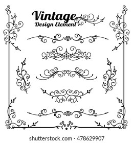 Collection of decorative vintage and classic design element vector illustration eps10