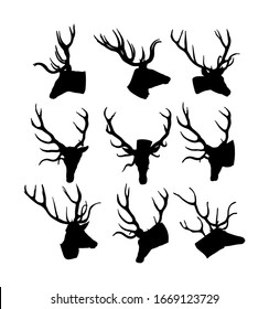 Collection of Deer head trophy with antlers vector silhouette isolated on white background. Reindeer, proud Noble Deer male. Powerful buck, symbol of male power. Hunter hunting wild animal.