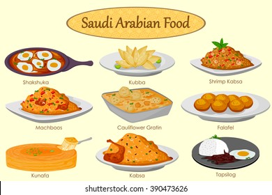 Collection of delicious Saudi Arabian food in vector