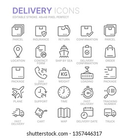 Collection of delivery line icons. 48x48 Pixel Perfect. Editable stroke