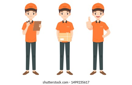 collection of delivery man character in orange uniform with cap carry parcel box, flat cartoon vector illustration