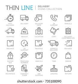 Collection of delivery thin line icons