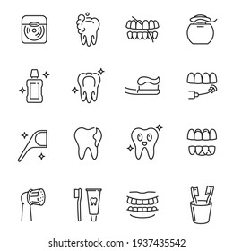 Collection of dental care monochrome icons vector illustration. Set of different linear dentistry disease and treatment isolated on white. Dentist cleaning removal equipment orthodontist restoration