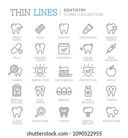 Collection of dentistry thin line icons. Vector eps 8