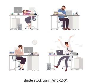 Collection of depressed people at work. Tired male and female office workers sitting, sleeping or expressing anger at desks with computers. Set of flat cartoon characters. Colored vector illustration.
