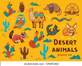 Collection of desert animals with ethnic, tribal ornaments. Vector illustration. Cute characters