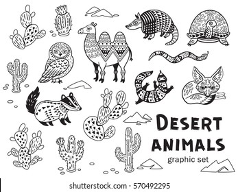 Collection of desert animals in vector. Outline ornamental illustration in ethnic, tribal style for children coloring pages