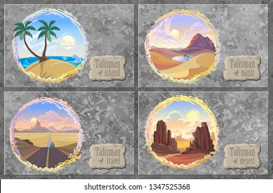 A collection of desert landscapes with road, oceans, canyons and oasis