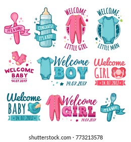 """Collection design of baby shower logo. Set stickers for children's birthday party. """"Welcome baby"""" signs. Cartoon newborn invitation and card. Vector"""
