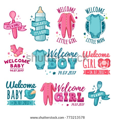 Collection Design Baby Shower Logo Set Stock Vector Royalty Free